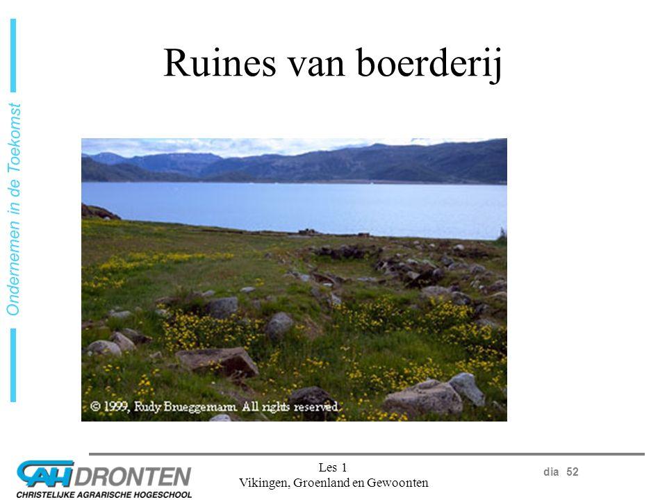 dia 52 Ondernemen in de Toekomst Les 1 Vikingen, Groenland en Gewoonten Ruines van boerderij