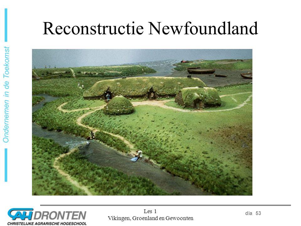 dia 53 Ondernemen in de Toekomst Les 1 Vikingen, Groenland en Gewoonten Reconstructie Newfoundland
