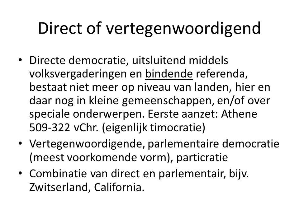 Direct of vertegenwoordigend Directe democratie, uitsluitend middels volksvergaderingen en bindende referenda, bestaat niet meer op niveau van landen, hier en daar nog in kleine gemeenschappen, en/of over speciale onderwerpen.