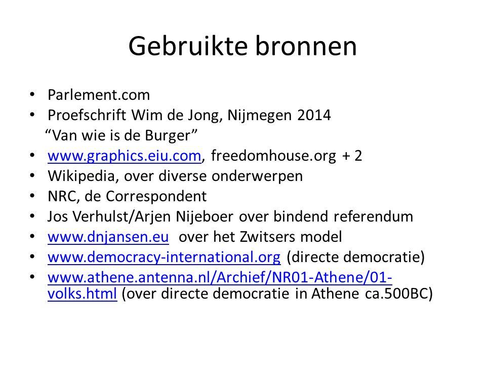 """Gebruikte bronnen Parlement.com Proefschrift Wim de Jong, Nijmegen 2014 """"Van wie is de Burger"""" www.graphics.eiu.com, freedomhouse.org + 2 www.graphics"""
