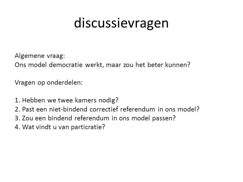 discussievragen Algemene vraag: Ons model democratie werkt, maar zou het beter kunnen.