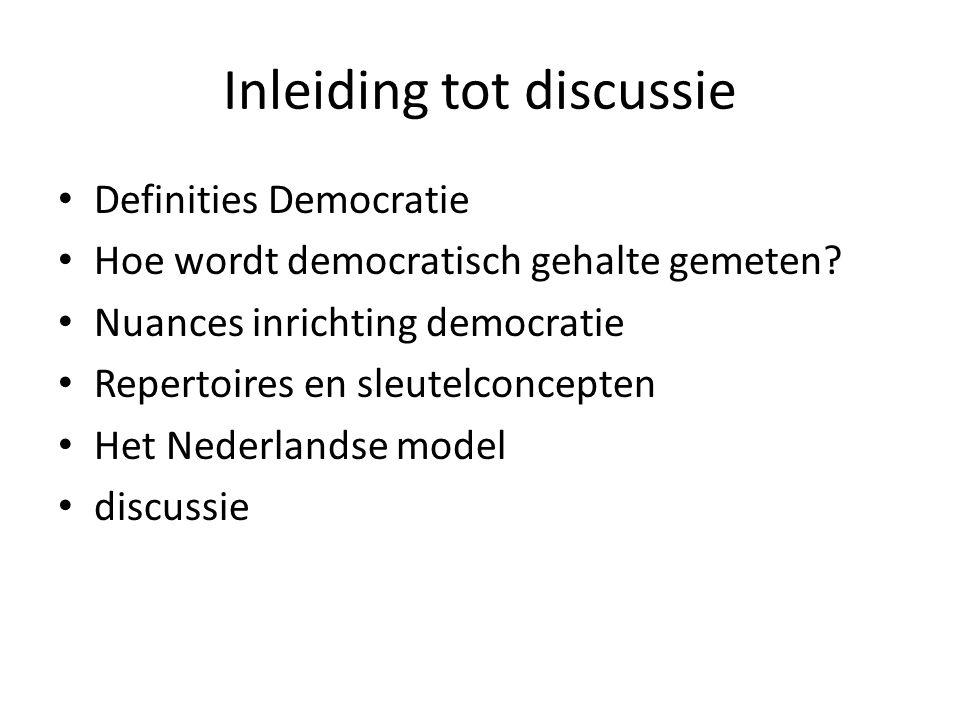 Inleiding tot discussie Definities Democratie Hoe wordt democratisch gehalte gemeten.