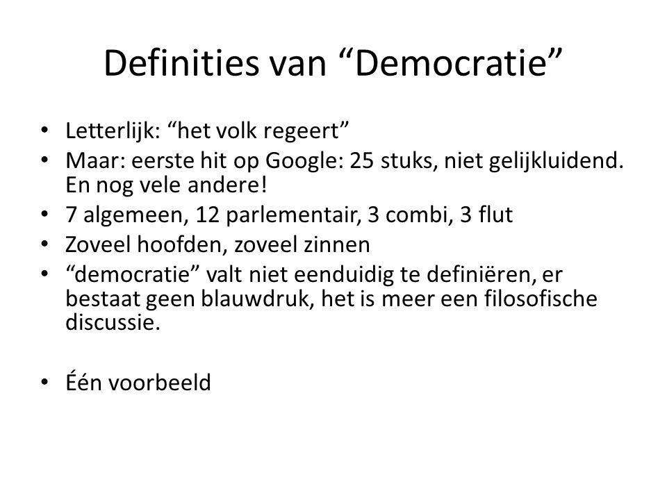 Definities van Democratie Letterlijk: het volk regeert Maar: eerste hit op Google: 25 stuks, niet gelijkluidend.