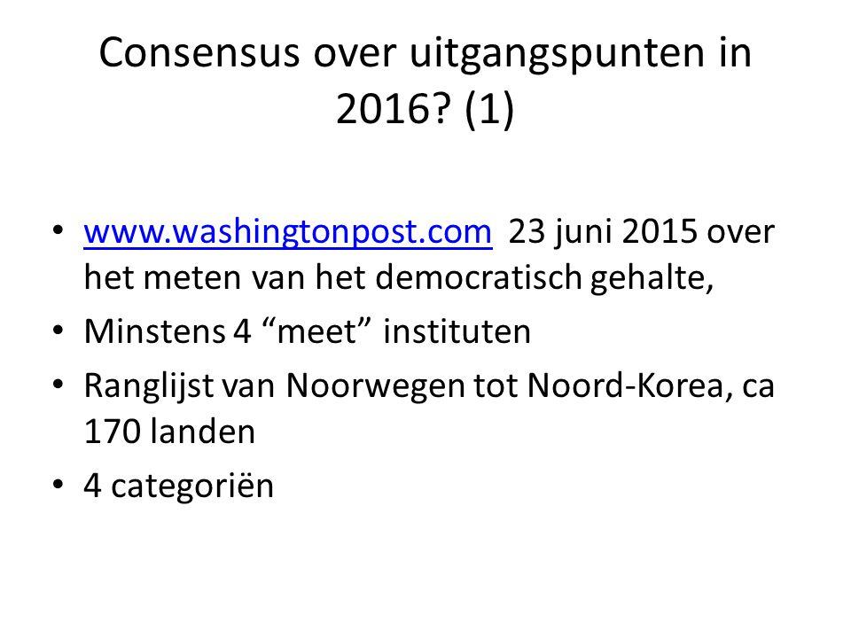 Consensus over uitgangspunten in 2016? (1) www.washingtonpost.com 23 juni 2015 over het meten van het democratisch gehalte, www.washingtonpost.com Min