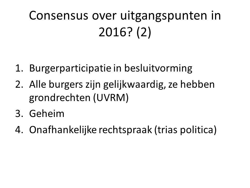 Consensus over uitgangspunten in 2016? (2) 1.Burgerparticipatie in besluitvorming 2.Alle burgers zijn gelijkwaardig, ze hebben grondrechten (UVRM) 3.G