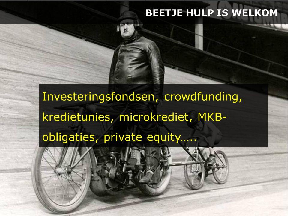BEETJE HULP IS WELKOM Investeringsfondsen, crowdfunding, kredietunies, microkrediet, MKB- obligaties, private equity…..