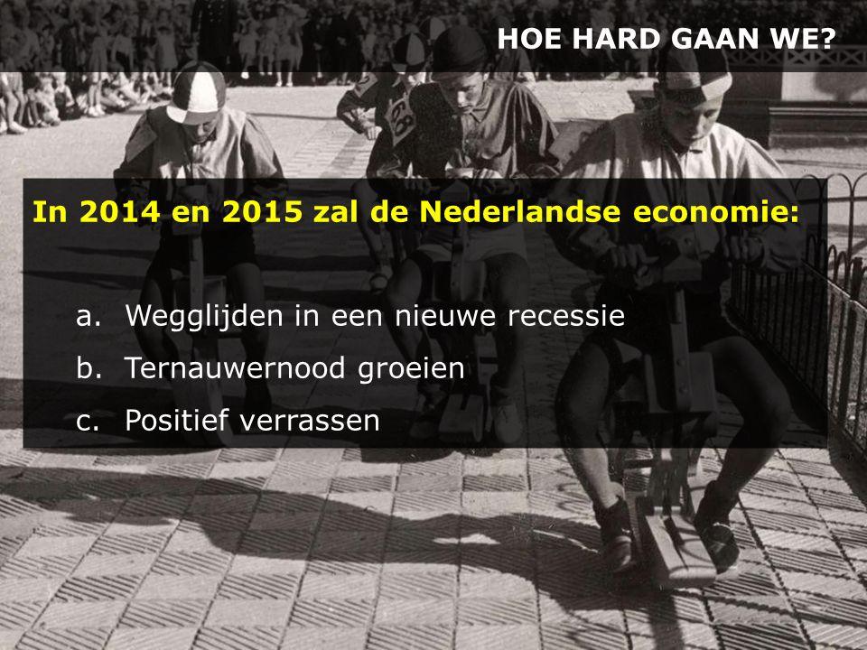 HOE HARD GAAN WE? In 2014 en 2015 zal de Nederlandse economie: a.Wegglijden in een nieuwe recessie b.Ternauwernood groeien c.Positief verrassen