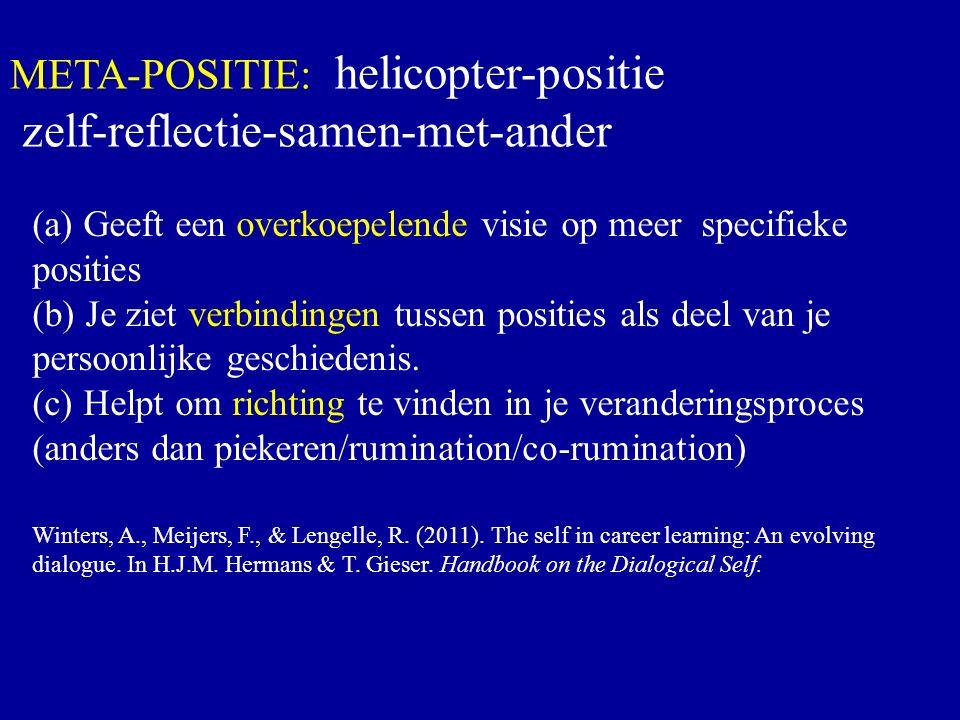 Meta-Position META-POSITIE: helicopter-positie zelf-reflectie-samen-met-ander (a) Geeft een overkoepelende visie op meer specifieke posities (b) Je ziet verbindingen tussen posities als deel van je persoonlijke geschiedenis.
