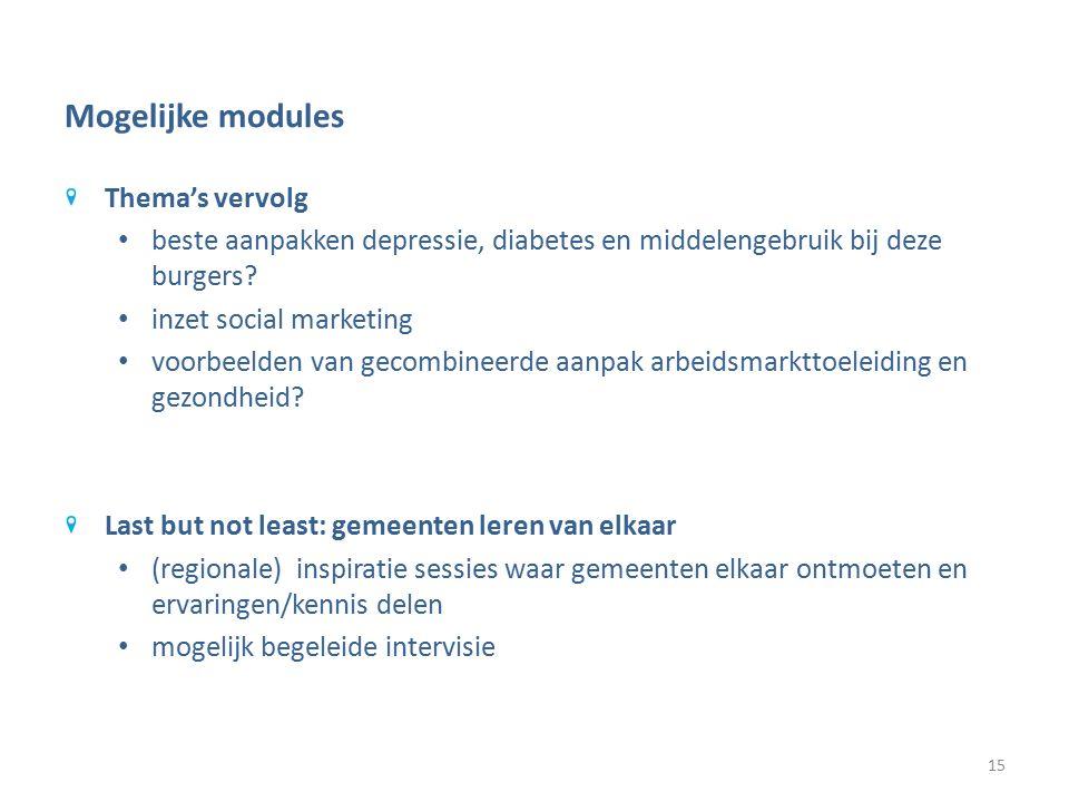 Mogelijke modules Thema's vervolg beste aanpakken depressie, diabetes en middelengebruik bij deze burgers.