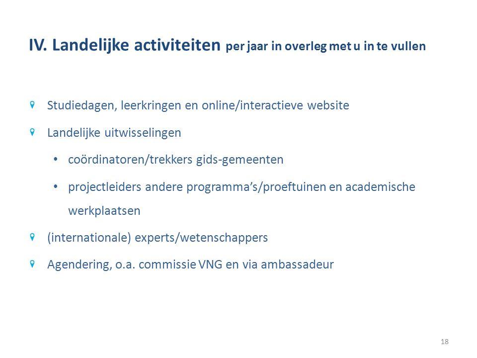 IV. Landelijke activiteiten per jaar in overleg met u in te vullen Studiedagen, leerkringen en online/interactieve website Landelijke uitwisselingen c