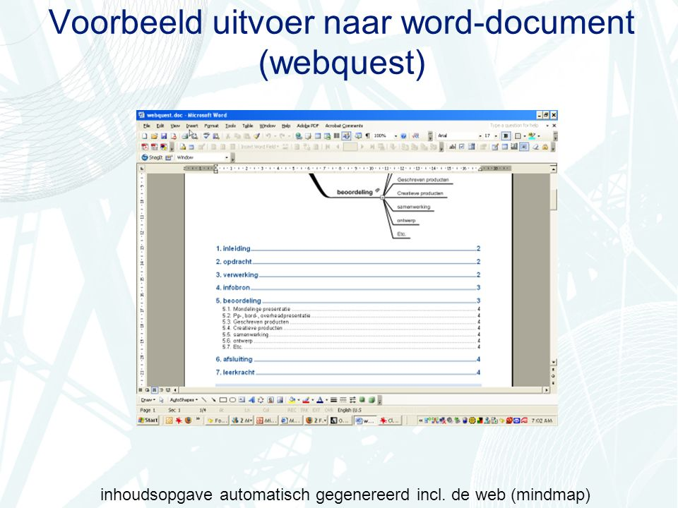 Voorbeeld uitvoer naar word-document (webquest) inhoudsopgave automatisch gegenereerd incl.