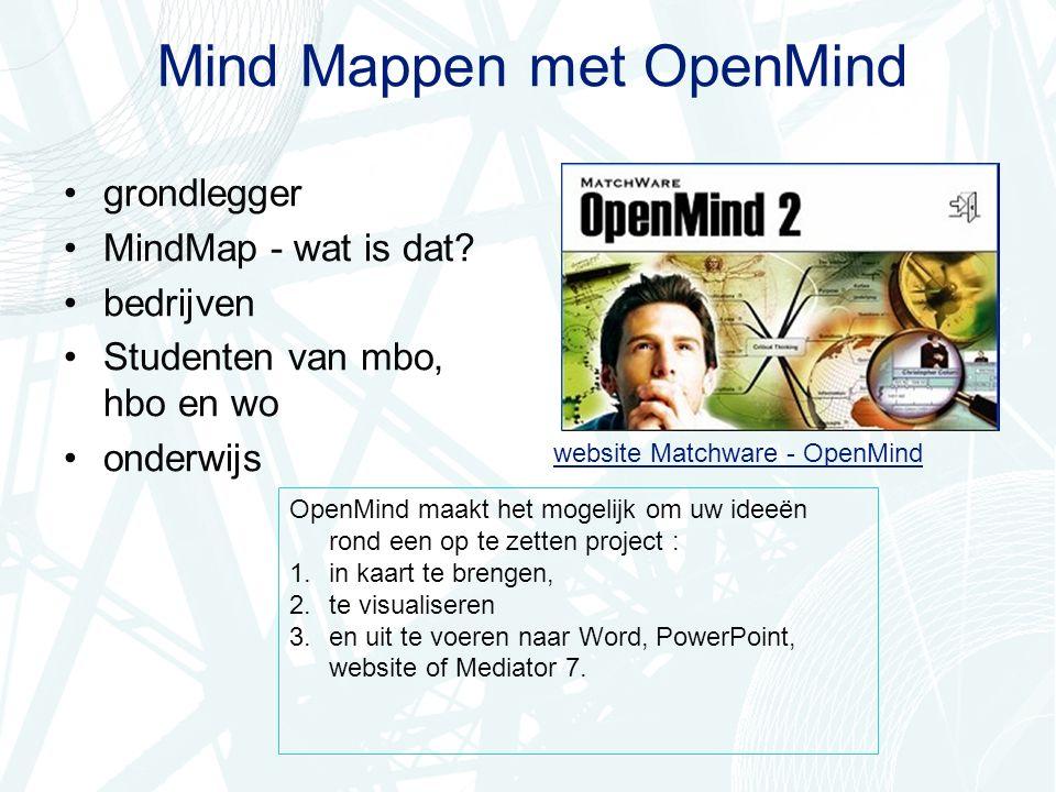 grondlegger De grondlegger van MindMapping, Tony Buzan, studeerde Engels, wiskunde, natuurwetenschappen en psychologie.