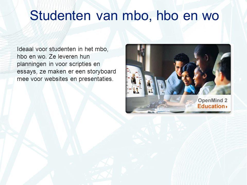 Studenten van mbo, hbo en wo Ideaal voor studenten in het mbo, hbo en wo.