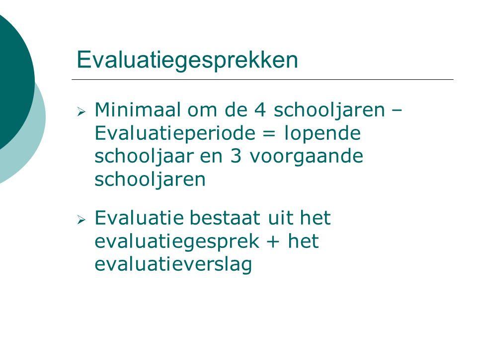 Evaluatiegesprekken  Minimaal om de 4 schooljaren – Evaluatieperiode = lopende schooljaar en 3 voorgaande schooljaren  Evaluatie bestaat uit het evaluatiegesprek + het evaluatieverslag