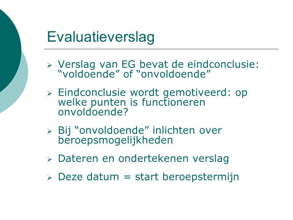 Evaluatieverslag  Verslag van EG bevat de eindconclusie: voldoende of onvoldoende  Eindconclusie wordt gemotiveerd: op welke punten is functioneren onvoldoende.