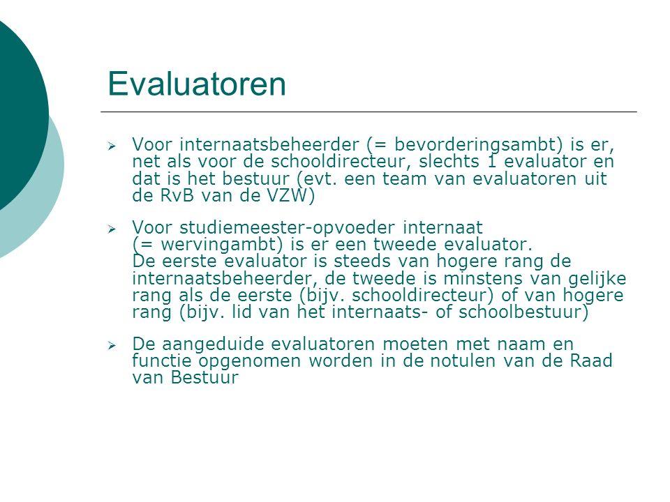 Evaluatoren  Voor internaatsbeheerder (= bevorderingsambt) is er, net als voor de schooldirecteur, slechts 1 evaluator en dat is het bestuur (evt.