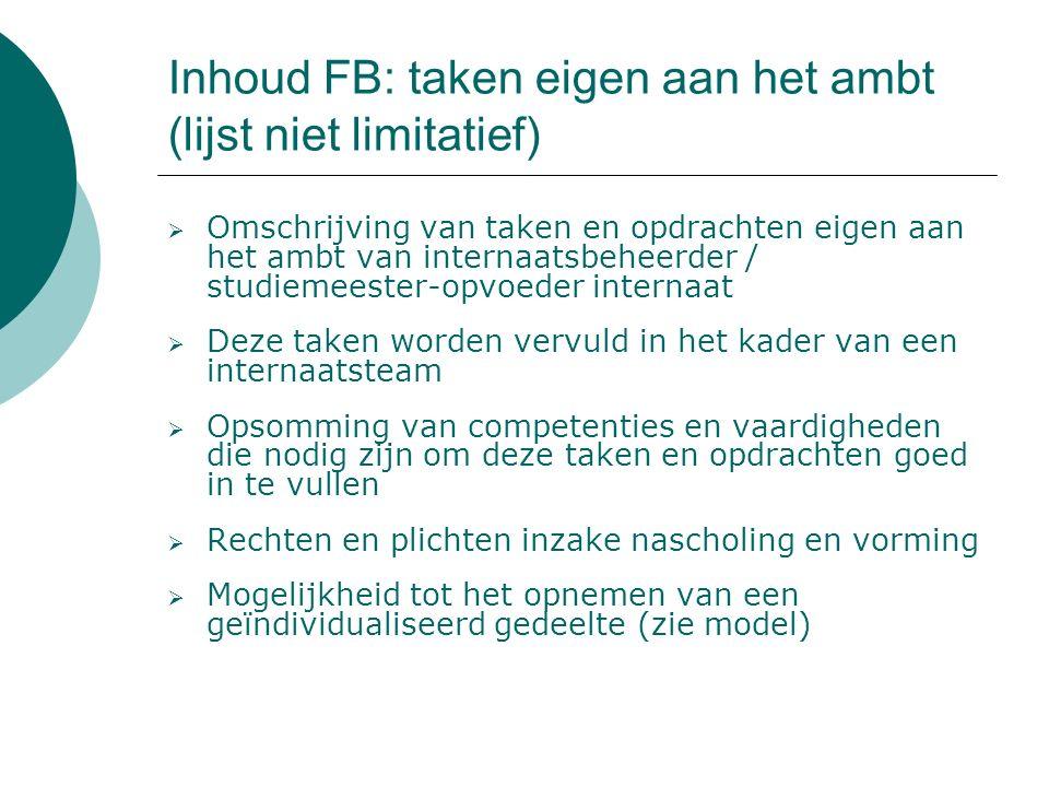 Inhoud FB: persoon- en ontwikkelingsgerichte doelstellingen  Kunnen ter sprake komen en geïndividualiseerd worden n.a.v.