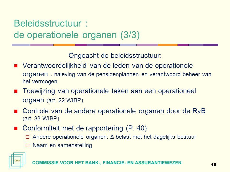 Beleidsstructuur : de operationele organen (3/3) Ongeacht de beleidsstructuur: Verantwoordelijkheid van de leden van de operationele organen : naleving van de pensioenplannen en verantwoord beheer van het vermogen Toewijzing van operationele taken aan een operationeel orgaan (art.