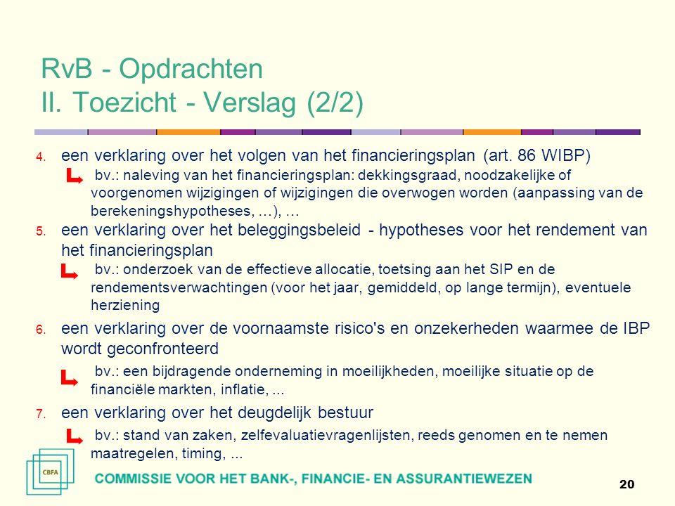 RvB - Opdrachten II. Toezicht - Verslag (2/2) 4.