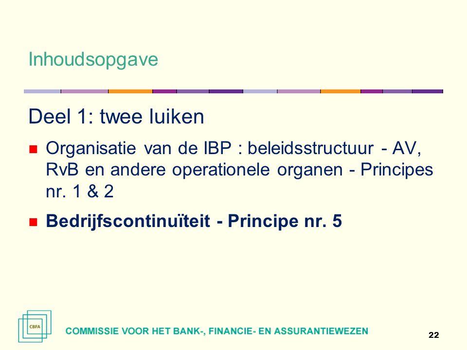 Inhoudsopgave Deel 1: twee luiken Organisatie van de IBP : beleidsstructuur - AV, RvB en andere operationele organen - Principes nr.