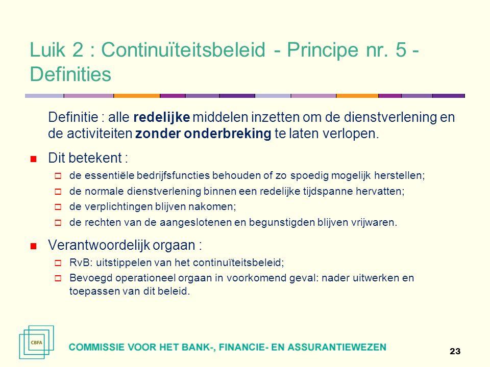 Luik 2 : Continuïteitsbeleid - Principe nr.