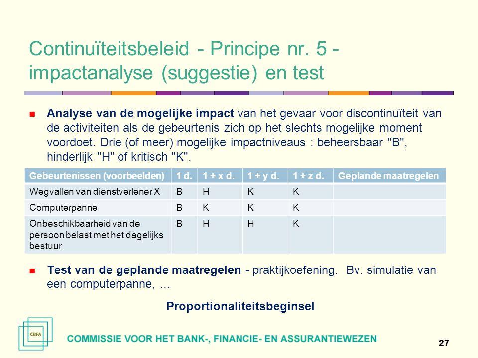 Continuïteitsbeleid - Principe nr.