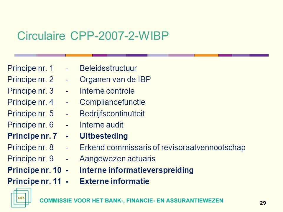 Circulaire CPP-2007-2-WIBP 29 Principe nr. 1 - Beleidsstructuur Principe nr.