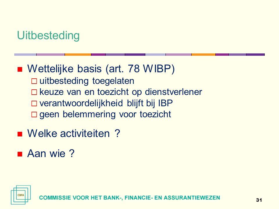 Uitbesteding 31 Wettelijke basis (art.