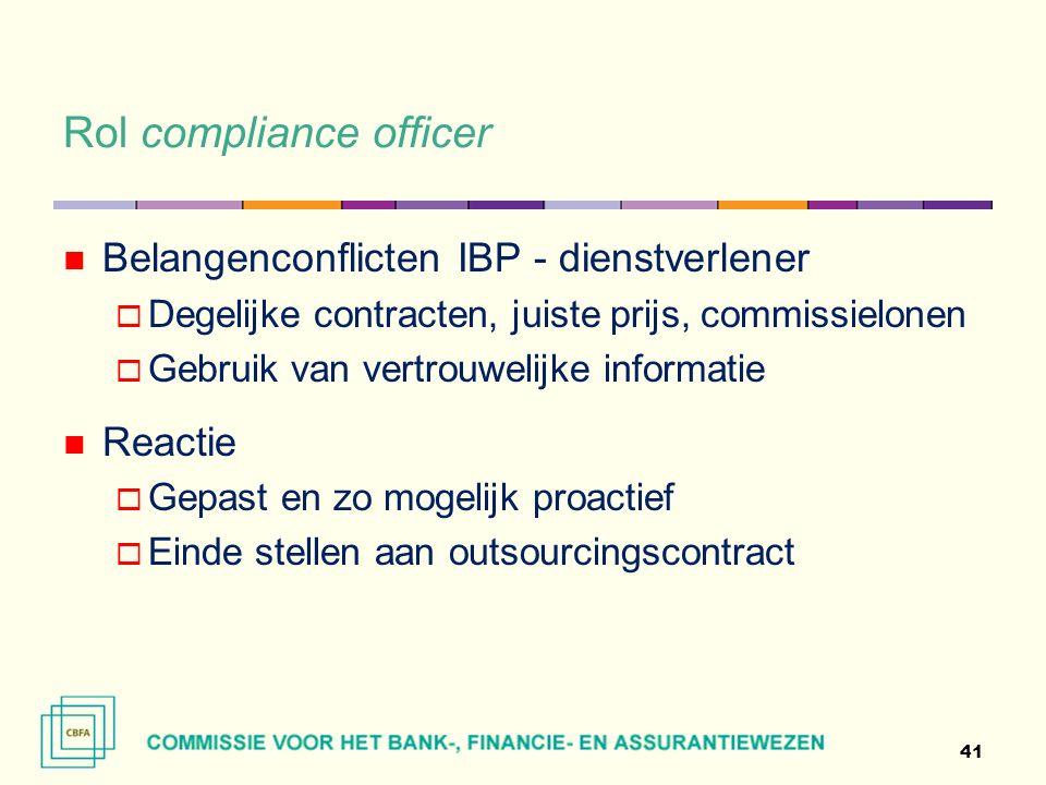 Rol compliance officer 41 Belangenconflicten IBP - dienstverlener  Degelijke contracten, juiste prijs, commissielonen  Gebruik van vertrouwelijke informatie Reactie  Gepast en zo mogelijk proactief  Einde stellen aan outsourcingscontract