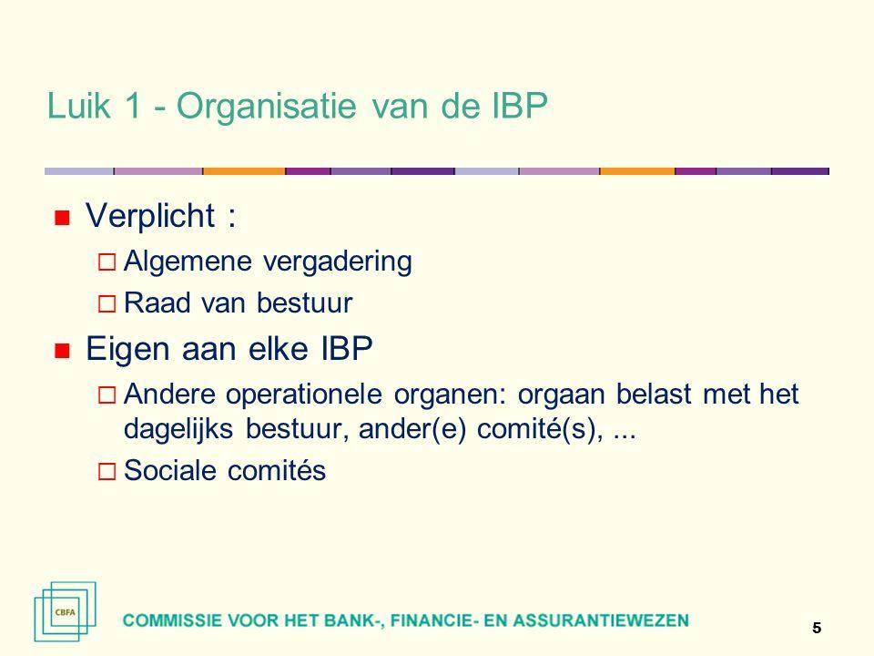 Luik 1 - Organisatie van de IBP Verplicht :  Algemene vergadering  Raad van bestuur Eigen aan elke IBP  Andere operationele organen: orgaan belast met het dagelijks bestuur, ander(e) comité(s),...