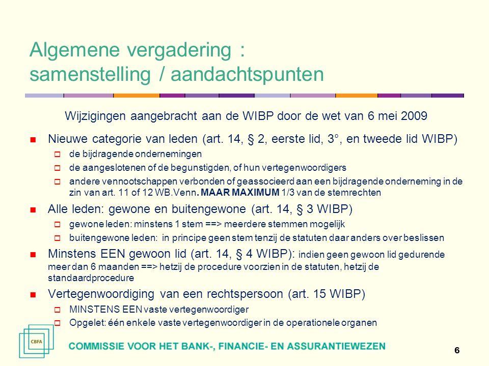 Algemene vergadering : samenstelling / aandachtspunten Wijzigingen aangebracht aan de WIBP door de wet van 6 mei 2009 Nieuwe categorie van leden (art.