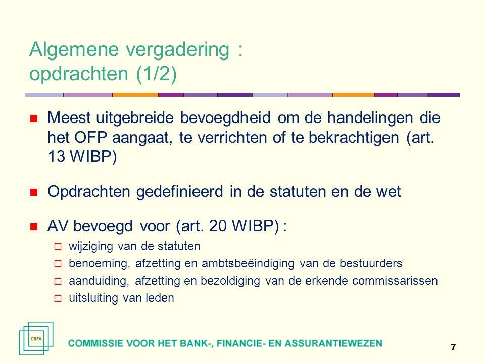 Algemene vergadering : opdrachten (1/2) Meest uitgebreide bevoegdheid om de handelingen die het OFP aangaat, te verrichten of te bekrachtigen (art.