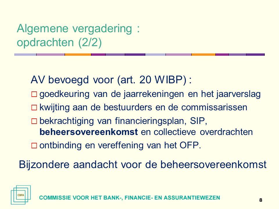 Algemene vergadering : beheers-overeenkomst - aandachtspunten (1/4) Beheers- en werkingsregels die een duidelijke omschrijving toelaten van de rechten en verplichtingen van de bijdragende ondernemingen (of in de statuten) - art.