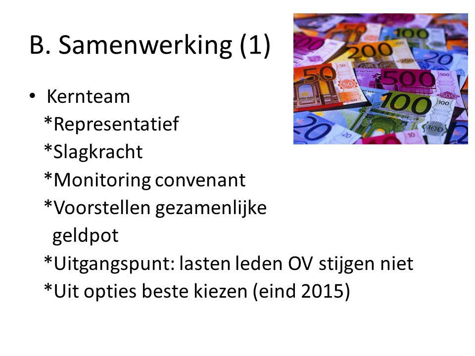 B. Samenwerking (1) Kernteam *Representatief *Slagkracht *Monitoring convenant *Voorstellen gezamenlijke geldpot *Uitgangspunt: lasten leden OV stijge