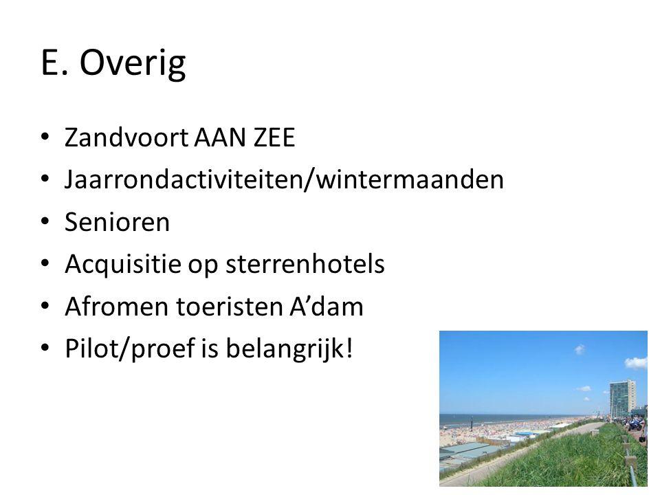 E. Overig Zandvoort AAN ZEE Jaarrondactiviteiten/wintermaanden Senioren Acquisitie op sterrenhotels Afromen toeristen A'dam Pilot/proef is belangrijk!