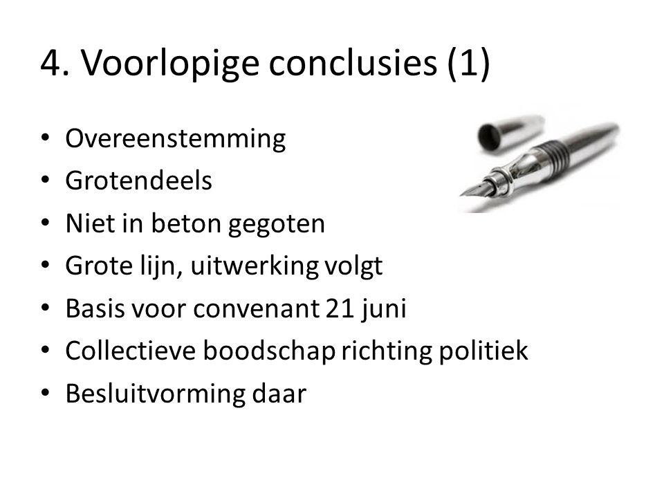 4. Voorlopige conclusies (1) Overeenstemming Grotendeels Niet in beton gegoten Grote lijn, uitwerking volgt Basis voor convenant 21 juni Collectieve b