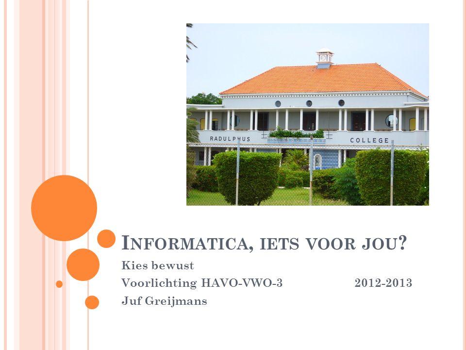 I NFORMATICA, IETS VOOR JOU ? Kies bewust Voorlichting HAVO-VWO-3 2012-2013 Juf Greijmans