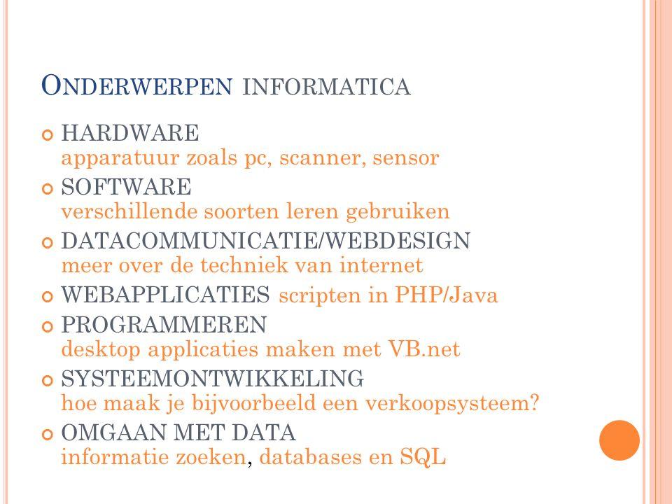 O NDERWERPEN INFORMATICA HARDWARE apparatuur zoals pc, scanner, sensor SOFTWARE verschillende soorten leren gebruiken DATACOMMUNICATIE/WEBDESIGN meer over de techniek van internet WEBAPPLICATIES scripten in PHP/Java PROGRAMMEREN desktop applicaties maken met VB.net SYSTEEMONTWIKKELING hoe maak je bijvoorbeeld een verkoopsysteem.