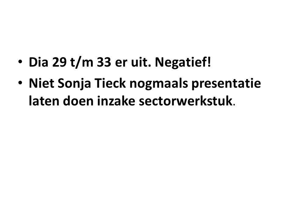 Dia 29 t/m 33 er uit. Negatief! Niet Sonja Tieck nogmaals presentatie laten doen inzake sectorwerkstuk.