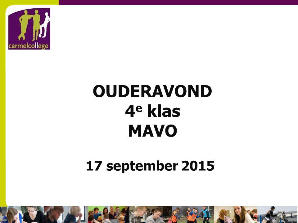 OUDERAVOND 4 e klas MAVO 17 september 2015