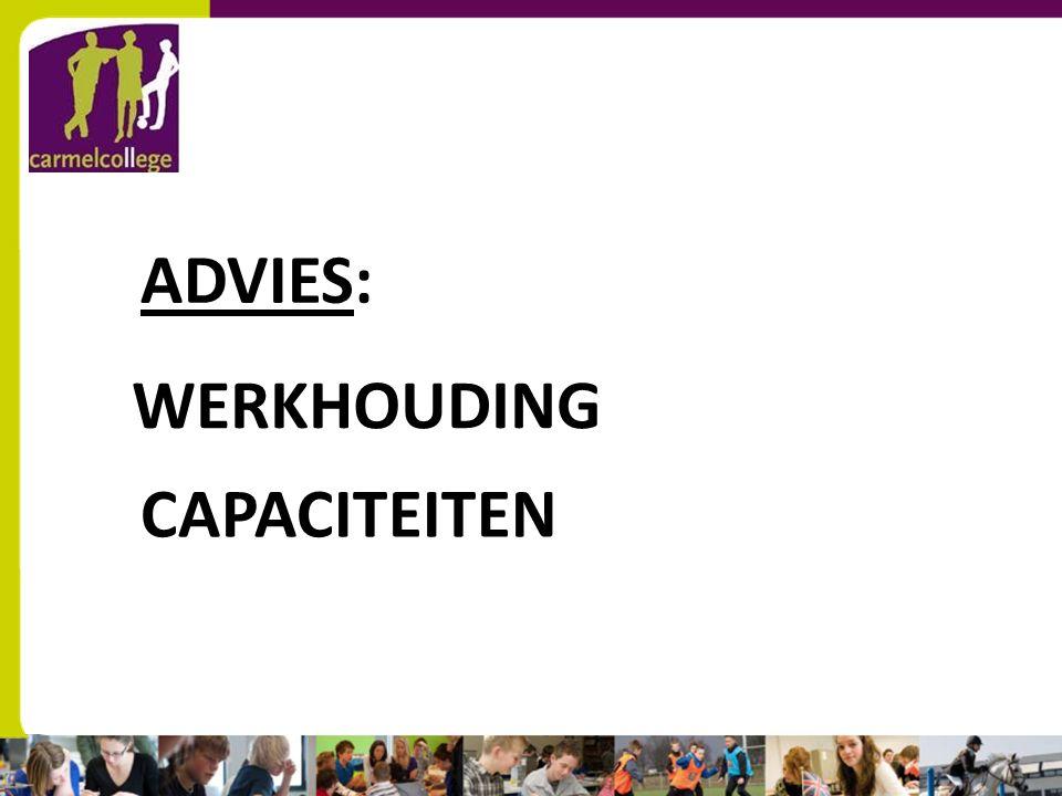 ADVIES: WERKHOUDING CAPACITEITEN