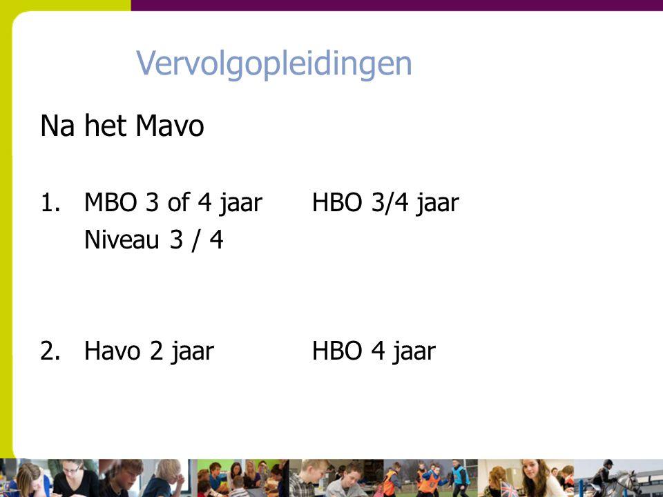 Vervolgopleidingen Na het Mavo 1.MBO 3 of 4 jaar HBO 3/4 jaar Niveau 3 / 4 2. Havo 2 jaar HBO 4 jaar