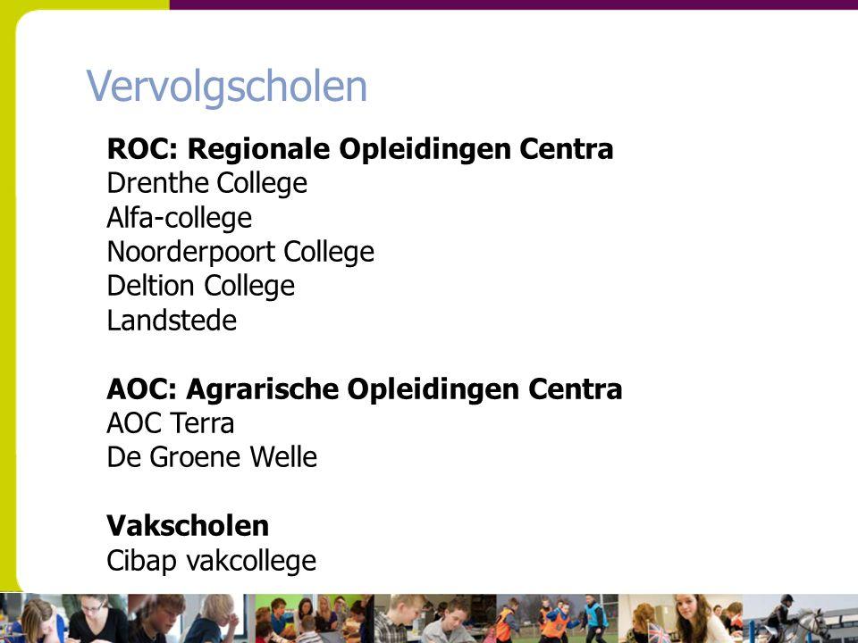 Vervolgscholen ROC: Regionale Opleidingen Centra Drenthe College Alfa-college Noorderpoort College Deltion College Landstede AOC: Agrarische Opleiding