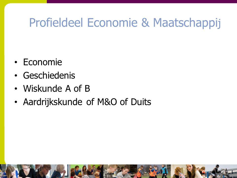 Profieldeel Economie & Maatschappi j Economie Geschiedenis Wiskunde A of B Aardrijkskunde of M&O of Duits