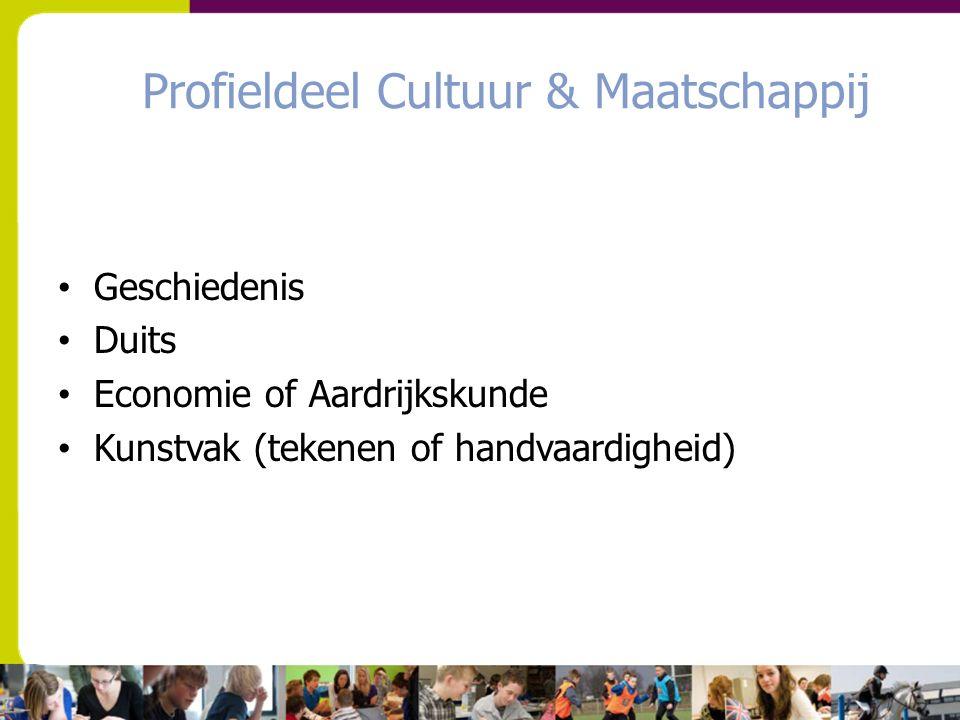 Profieldeel Cultuur & Maatschappij Geschiedenis Duits Economie of Aardrijkskunde Kunstvak (tekenen of handvaardigheid)