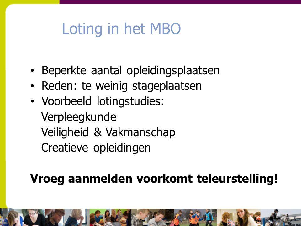 Loting in het MBO Beperkte aantal opleidingsplaatsen Reden: te weinig stageplaatsen Voorbeeld lotingstudies: Verpleegkunde Veiligheid & Vakmanschap Cr