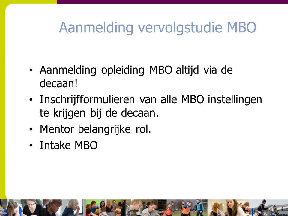 Aanmelding vervolgstudie MBO Aanmelding opleiding MBO altijd via de decaan! Inschrijfformulieren van alle MBO instellingen te krijgen bij de decaan. M