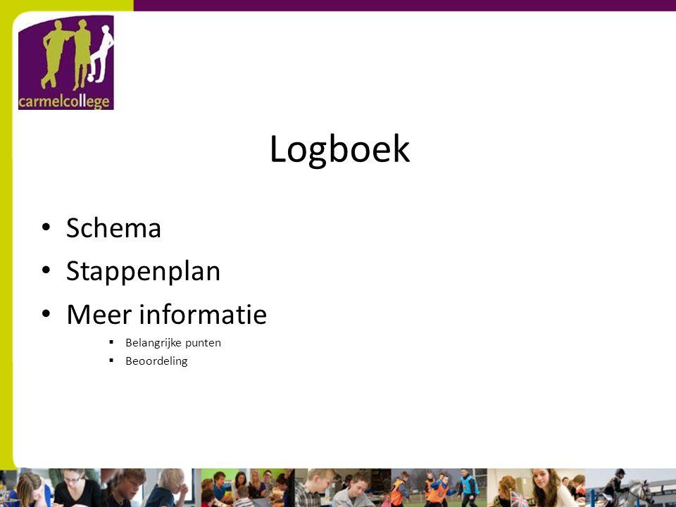 Logboek Schema Stappenplan Meer informatie  Belangrijke punten  Beoordeling