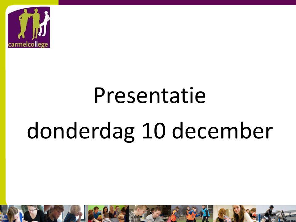 Presentatie donderdag 10 december