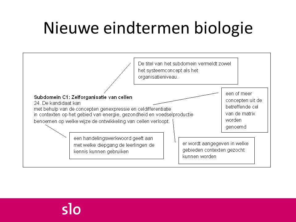 Nieuwe eindtermen biologie